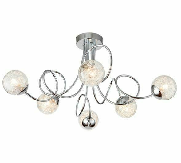 Auria 6 light chrome semi flush